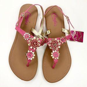 Candies Pink & Gold Flower Thong Sandals